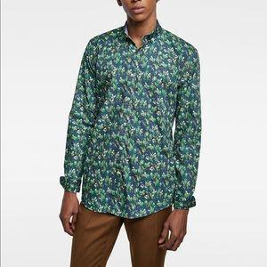 Zara men green printed poplin shirt